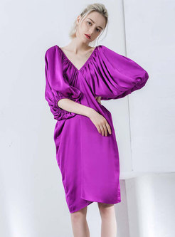 Purple Deep V-neck Cutout-Back Knee-length Loose Dress