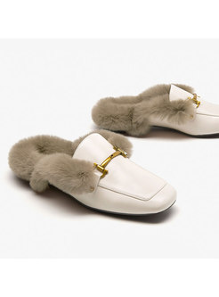 Chic Winter Outdoor Flat Fur Slippers