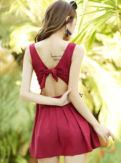 Chic V-neck Bowknot Tied Backless One Piece Swimwear