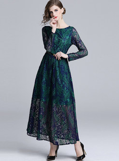 O-neck Long Sleeve Hollow Out Lace Maxi Dress