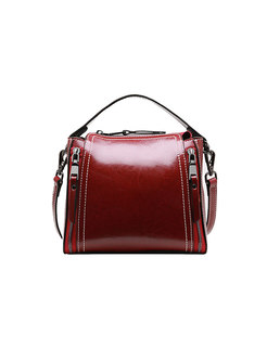 Stylish Wine Red All-matched Top Handle & Crossbody Bag