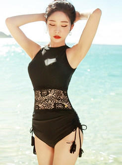 Solid Color Halter Mesh Splicing One Piece Swimwear