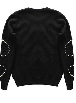 Black Crew-neck Long Sleeve Beaded Knitted Sweater
