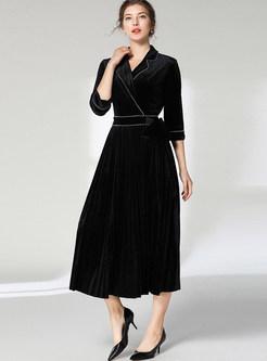 Half Sleeve Big Hem Cocktail Party Long Dress