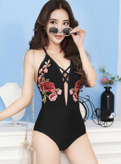 Sexy V-neck Backless Embroidered Triangle One Piece Swimwear