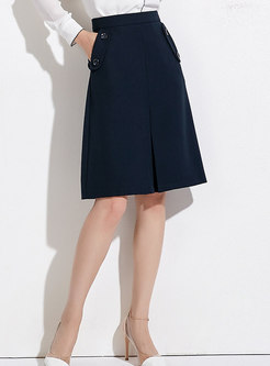 Deep Blue High Waist Pockets A Line Skirt