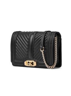 Brief Black Clasp Lock Chain Crossbody & Tote Bag