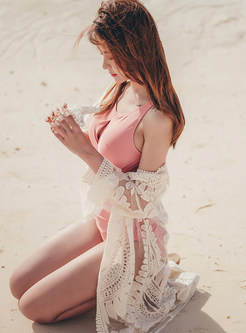 O-neck Backless High Waist Cover-up Swimwear