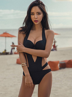 Sexy Black Gathered Triangle One Piece Swimwear