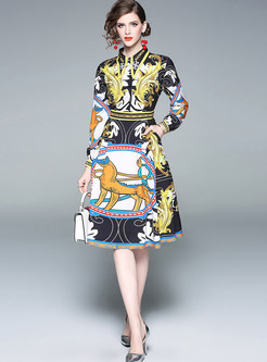 Court Color-blocked Lapel Print A Line Dress