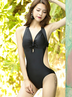 Stylish Halter Backless Tied Gathered One Piece Swimwear