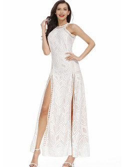 Sexy Halter Backless Hollow Out Lace Slit Maxi Dress