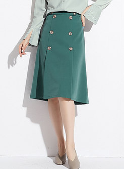 Green Chic High-rise Slim A Line Skirt