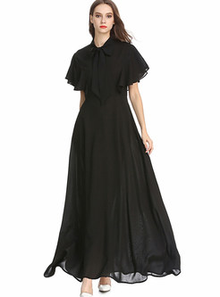 Black Bowknot Ruffled Sleeve High Waist Chiffon Dress