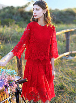 Lace-paneled Three Quarters Sleeve Hollow Out Dress
