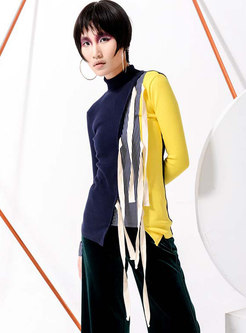 Color-blocked Tied Knitted Sweater