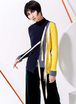 Stylish Splicing Color-blocked Tied Knitted Sweater
