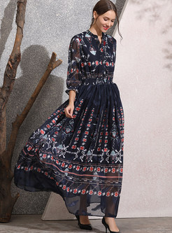 Vintage V-neck Tied Lantern Sleeve Print Chiffon Dress