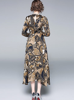 Retro Standing Collar Long Sleeve Print Maxi Dress