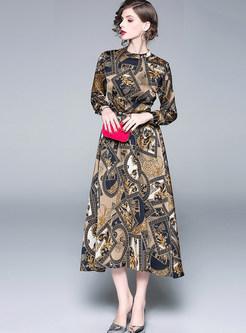 Retro Standing Collar Long Sleeve Print Maxi Dress