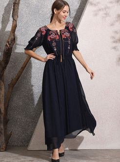 Slash Neck Tied Embroidered Big Hem Maxi Dress