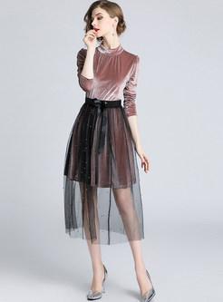 Standing Collar Long Sleeve Slim Dress & Mesh Skirt