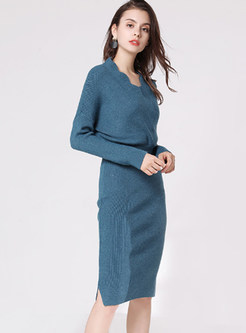 Brief Solid Color V-neck Long Sleeve Sheath Dress