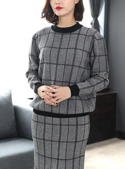 Casual O-neck Pullover Knitted Two Piece Outfits