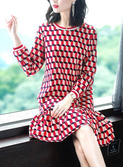 Color-blocked O-neck Long Sleeve Plaid Falbala Dress