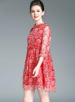 Three Quarters Sleeve Plus Size Silk Mini Shift Dress