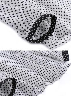 Fashion Turn-down Collar Top & High Waist Sheath Skirt