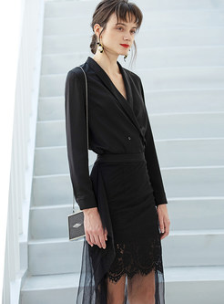 Black Slim Long Sleeve Coat & Irregular Mesh Splicing Skirt