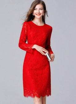 O-neck Long Sleeve Irregular Selvedge Bodycon Dress