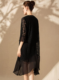 Lace Splicing Sleeveless Skater Dress & Embroidered Flare Sleeve Asymmetric Kimono