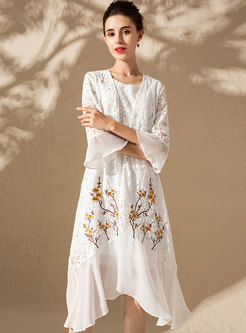 White Splicing Sleeveless Skater Dress & Embroidered Flare Sleeve Asymmetric Kimono