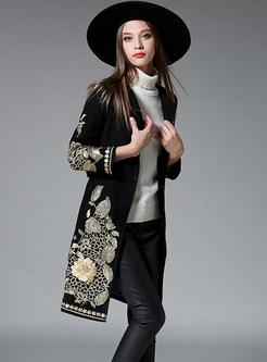 V-neck Embroidered Tie-waist Slim Cashmere Coat