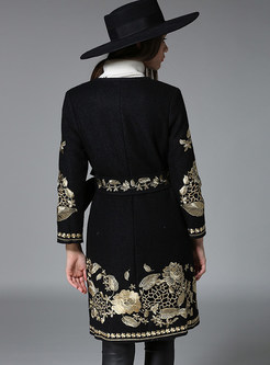 V-neck Embroidered Tie-waist Slim Cashmere Coat