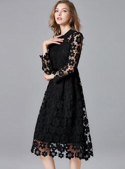 Fashion Black Lapel Openwork Lace A Line Dress