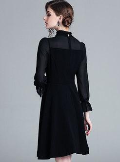 Black Mesh Splicing Ruffled Collar Hem Skater Dress