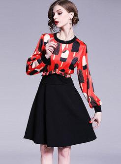 Stylish Splicing Print O-neck Gathered Waist Skater Dress