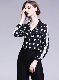Lace Splicing Heart Pattern Lapel Single-breasted Blouse