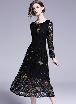 Chic Embroidered O-neck Gathered Waist Slim Lace Dress