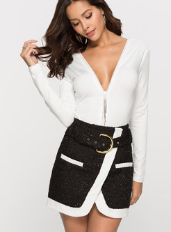 Color-blocked Belted Bodycon Woolen Mini Skirt