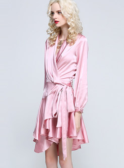 Party V-neck Long Sleeve Asymmetric Falbala Dress