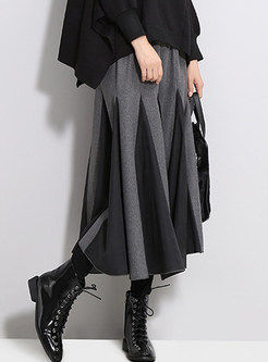 Color-blocked Elastic Waist Midi Big Hem Skirt