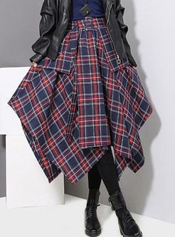 High Waist Asymmetric Big Hem Belted Plaid Skirt