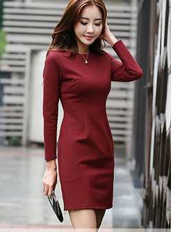 Wine Red Slash Neck Bottoming Knitted Dress