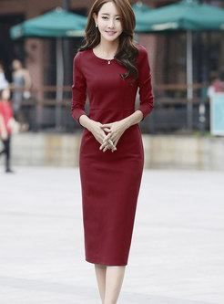 Elegant Long Sleeve High Waist Bodycon Dress
