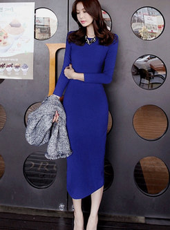Elegant O-neck High Waist Sheath Dress