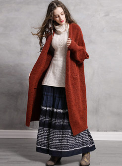 Lantern Sleeve Pocket Loose Sweater Coat